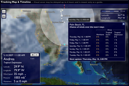 Wind probabilities displayed for Ft. Lauderdale, FL. as Ernesto approaches.